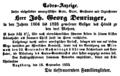1854-09-18 Todes-Anzeige Joh. Georg Deuringer (Augsburger Postzeitung).png