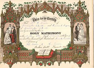 Marriage certificate - Image: 1875 Marriage Certificate