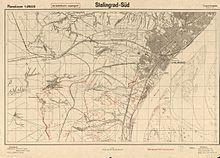 """""""Malfreŝigad-suda"""", 1942 mapo de la germana Ĉefa stabo"""