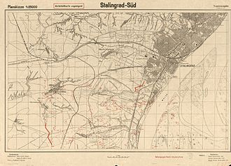 "Battle of Stalingrad - ""Stalingrad-South"", 1942 map from the German General Staff"