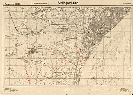 """Stalingrad-South"", 1942 map from the German General Staff 1942 German map of Stalingrad.jpg"