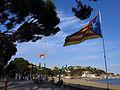 195 Estelada al passeig de Mar, al fons el puig de les Forques (Sant Feliu de Guíxols).JPG