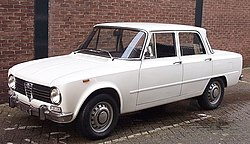 1971 Alfa Romeo Giulia Super 1300 berlina in white.jpg