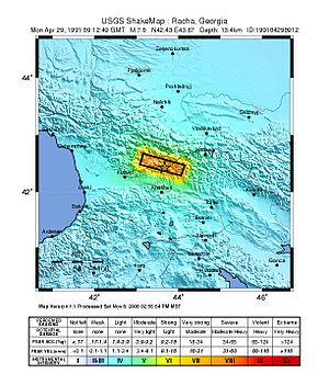 1991 Racha earthquake - USGS Shake map for the earthquake
