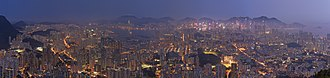 Lion Rock - Night panorama of Kowloon from Lion Rock