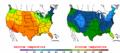 2003-10-20 Color Max-min Temperature Map NOAA.png