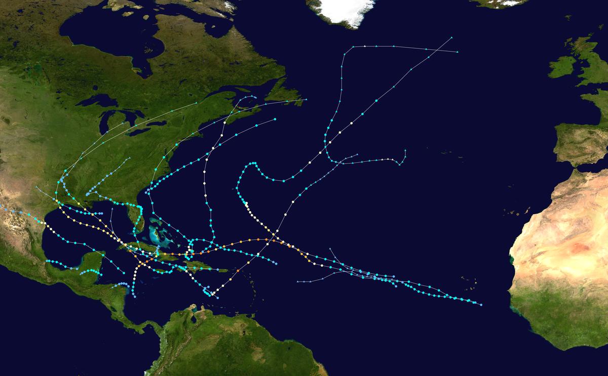Atlantic Hurricane Season Wikipedia - Map of us hurricanes