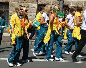 Tracksuit - The Australian Olympics women's softball team at a welcome-home parade in Sydney. 2008.