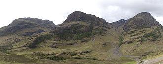 Bidean nam Bian - The Three Sisters, seen from Glen Coe: Beinn Fhada, Gearr Aonach, and Aonach Dubh.
