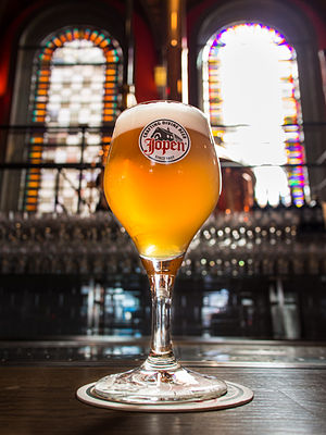 """Jopen - Jopen Lentebier (""""Springtime beer"""") is a top-cropped beer of 7%; at the Jopenkerk brewery"""