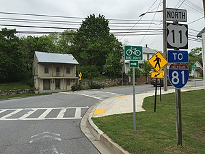 U.S. Route 11 in Maryland - US 11 northbound entering Williamsport