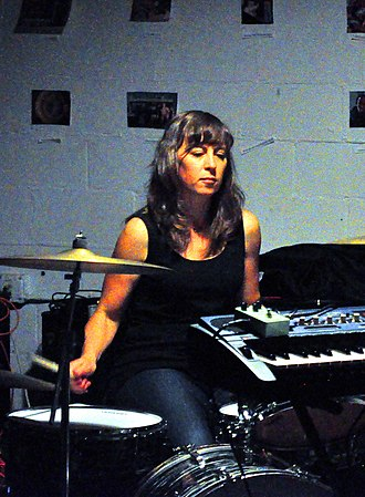 Sara Lund - Lund drumming at the Olympia Experimental Music Festival in 2014