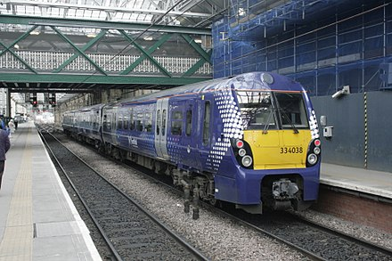 A train preparing to depart from Edinburgh Waverley Station 334038 sits at Edinburgh Waverley, 05 April 2013.JPG