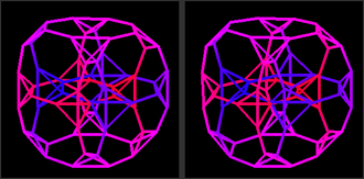 Truncated tesseract - A stereoscopic 3D projection of a truncated tesseract.