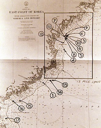USS Pueblo (AGER-2) - Chart showing the 17 locations North Korea reported Pueblo had entered their 12 nautical mile territorial waters