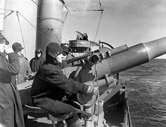 USS McCook (DD-252) - Crew manning a 4-inch gun, Halifax, March 1941