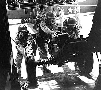 504th Infantry Regiment (United States) - Men of the 504th prepare a weapon for stowage aboard a glider in April 1943.
