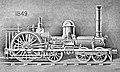 6-2-0 Crampton locomotive, 1849, first Crampton built in America. Locomotive Engineering, X-4, April 1897, New York, p. 287 – Enhanced, black and white.jpg
