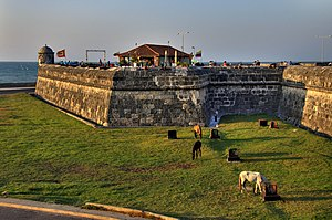 Battle of Cartagena de Indias (1586) - Present day walls of old Cartagena de las Indias
