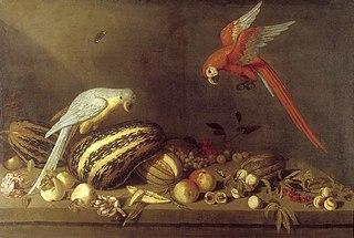 Stilleven met vruchten, bloemen en twee kaketoes
