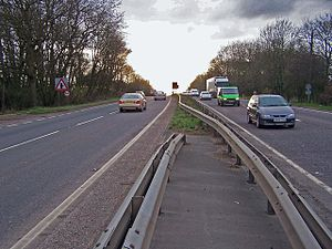 A249 road - The A249 on Detling Hill, facing west towards Maidstone