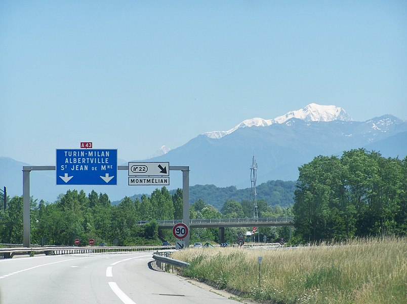 Sight on Mont-Blanc from French motorway A43 to Italy (here in Savoie).