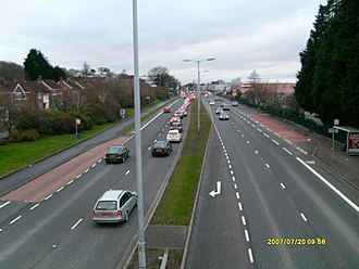 A55 road (Northern Ireland) - The A55 at Knockbreda in south Belfast. (View westwards towards Forestside Shopping Centre.)