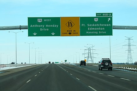 Anthony Henday Drive in Edmonton. The freeway is the main ring road for the city. AB216wRoad-Exit46BA-AB15 (33828017685).jpg