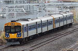 ADK/ADB class diesel multiple unit - ADK 687 and another unit approaching Britomart near the end of their service in 2014.