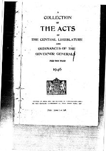 A Collection of the Acts of the Central Legislature and Ordinances of the Governor General of India, 1946.djvu