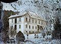 A Gyógyfürdő parkja (ma Dr. Schulhof Vilmos sétány), Ferenc József-ház (ma Szent András Állami Reumatológiai és Rehabilitációs Kórház). Fortepan 86534.jpg