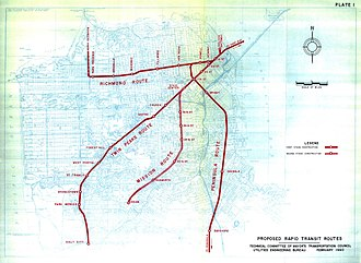 Downtown Rail Extension - Preliminary plans for BART routes in San Francisco, including connections to Marin and the Peninsula (1960)