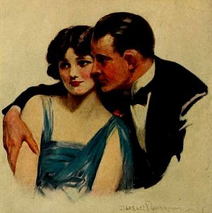 """Woodbury Soap Company - """"A Skin You Love To Touch"""" by Clarence F. Underwood, from an ad for Woodbury's Facial Soap, on the back cover of the February 1922 Photoplay"""