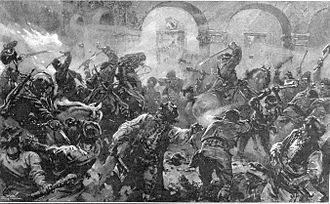 1907 Romanian Peasants' revolt - A cavalry patrol sabring the rioters in the streets of Comănești (Illustrated London News)