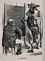 A fat white man sits on a stool while a black man in native Wellcome V0040082.jpg