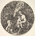 A female satyr breastfeeding an child to the right, turned towards the left, a satyr child on the ground to the left, from 'Landscapes and seaports' (Paysages et ports de mer, dans des ronds) MET DP829705.jpg