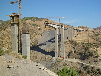 Economy of Algeria - New bridge construction near Aïn Turk.