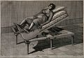 A pregnant woman on an obstetrical bed. Line engraving by G. Wellcome V0014951.jpg