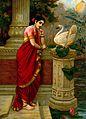 A swan telling Damayanti of Nala's love. Chromolithograph by Wellcome V0045111.jpg