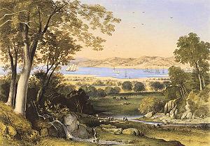 Bunbury, Western Australia - Thomas Colman Dibdin, A view of Koombana Bay, 1840, hand coloured lithograph, National Library of Australia