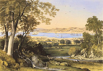 Bunbury, Western Australia - Thomas Colman Dibdin, A view of Koombana Bay, 1840, hand coloured lithograph, National Library of Australia