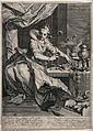 A woman surrounded by bubbles is sitting in font of a table Wellcome V0047962.jpg