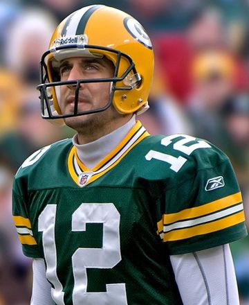 Quarterback Aaron Rodgers in 2008 Aaron Rodgers 2008 (cropped).jpg