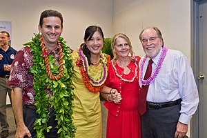 Neil Abercrombie - Neil Abercrombie and his running mate Brian Schatz with their spouses on the day of the election