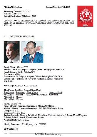 Mukhtar Ablyazov - INTERPOL Red Notice for Ablyazov