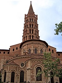 Saint-Sernin Basilica in Toulouse, displaying the typical pink brick architecture of Upper Languedoc.