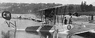 SIAI S.13 - Cilvil S.13 (CH6) at Cologny (GE) on Lake Geneva, probably piloted by Swiss aviation pioneer Emile Taddéoli (Ad Astra Aero)