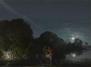 Cabinet painting - The Flight into Egypt, by Adam Elsheimer, Alte Pinakothek, Munich. 31 × 41 cm