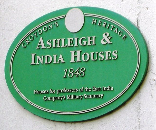 Green plaque № 9577 - Ashleigh & India Houses 1848 Houses for professors of the East India Company's Military Seminary