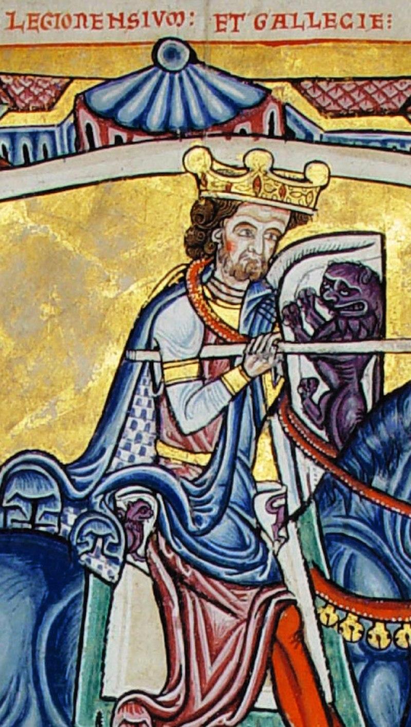 Alfonso IX según una miniatura del Tumbo A de la Catedral de Santiago de Compostela.